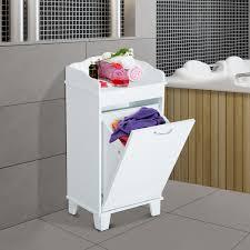 aosom homcom wooden bathroom laundry hamper cabinet white