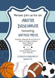 mod allstar sports theme baby shower or birthday party invitation