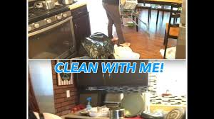 clean with me messy kitchen and living room youtube