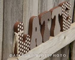 decorated wooden letters latte coffee theme kitchen decor