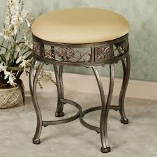 Vanity Chair Stool A Inviting Vanity Stool With Concrete Flooring And A Flower Pot