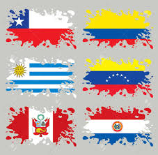 South America Flags Splash Flags Set South America Each In Separated Layer Easy