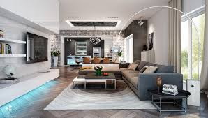living room white arc lamp also grey modern sofa plus grey cushion