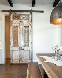 Large Interior French Doors Antique French Doors And Transom Used To Create A Sliding Barn