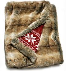 Faux Fur Blankets And Throws Cozy Coyote Lynx Faux Fur Throw Blanket With Fair Isle Holiday