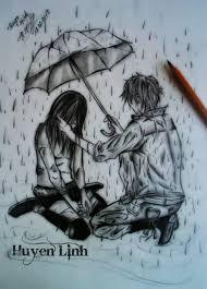 sad in rain with umbrella sketch drawing of sketch