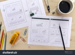 designer desk website wireframe sketches flat stock photo