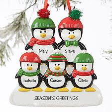 penguin family 5 name personalized ornament gifts