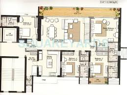 odyssey floor plan 4 bhk 3407 sq ft apartment for sale in raheja reflections odyssey