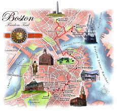 Boston Street Map by Boston Freedom Trail Map 50 Shades Of Age