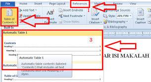 membuat daftar isi table of contents di word 2007 microsoft office word cara membuat daftar isi otomatis terbaru
