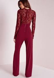 lace jumpsuits lyst missguided lace slinky jumpsuit burgundy in