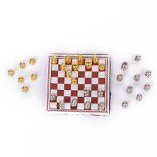 1 12 dollhouse miniature metal chess set silver u0026 gold l1u6 ebay