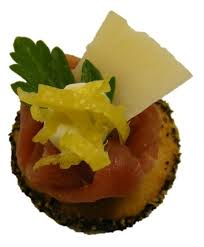 m canapes m parma ham on poppy seeded shortbread with parmesan