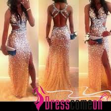 New Mermaid With Gold Heavy Crystal High Slit Prom Dress