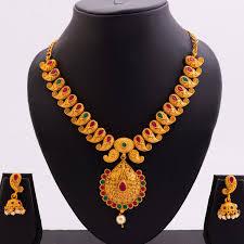 necklace set image images 1 gram gold gold finish necklace set mango motif classic design 07 jpg