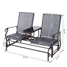 outsunny 2 seater patio glider rocking chair metal swing bench