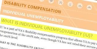 total disability ratings based on individual unemployability iu