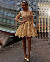 gold lace appliques long sleeves party gowns cheap short 2017