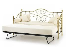 serene florence 3ft antique brass metal day bed frame with guest