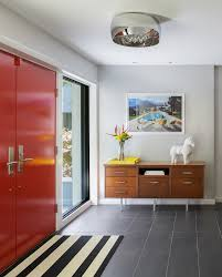 Mix Mid Century Modern With Traditional Tiled Foyers Ideas Entry Traditional With Double Doors Mixed Floor