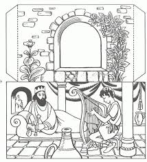 king saul and david in cave coloring pages kids coloring