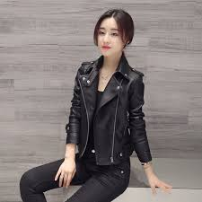 New Autumn Winter Black Motorcycle Jacket Women Faux Leather