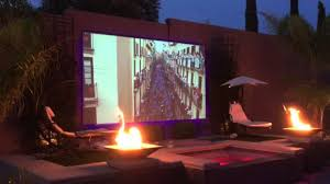 backyard projector screen project image with cool outdoor theater