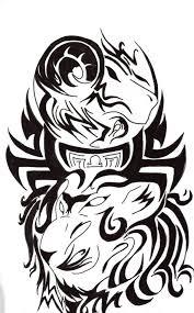 black ink unique tribal leo capricorn libra tattoo design