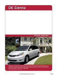 2006 toyota sienna brochure airbag vehicles