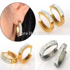 mens huggie earrings discount wholesale fashion jewelry stainless steel men black