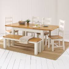 Dining Table 4 Chairs And Bench Cotswold Country Cream Painted Dining Table 4 Chair 1 Bench Set