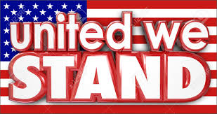 American Flag Words United We Stand Words On A Red White And Blue American Usa Flag