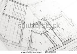 and house plans architects workspace rolled house plans blueprints stock photo