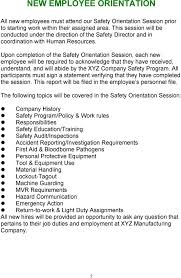 light duty at work rules sle written program for industrial safety pdf