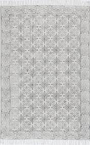 Off White Area Rugs by Handmade Flatweave Floral Trellis Cotton Fringe Area Rug