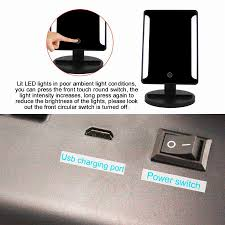 portable makeup vanity with lights led touch screen usb power portable folding toilet make up mirror