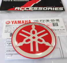 suzuki motorcycle emblem yamaha 100 genuine 55mm tuning fork logo red silver decal emblem
