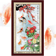 Chinese Home Decor Store Chinese Style Fish Lake 50 85cm Big Painting For Living Room Diy
