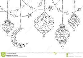 ramadan lamps graphic moon star black white sketch illustration