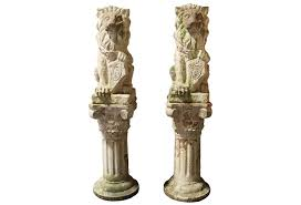 lion statue home decor noble lion statues on column pedestals pair omero home