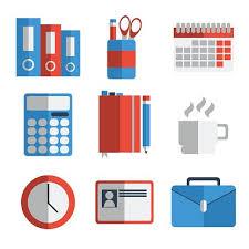 icone bureau ensemble de bureau matériel icône plate premium clipart