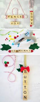 personalized scrabble tile ornaments happiness is