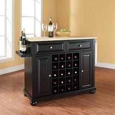 alexandria wood top wine cart black d kf31001abk crosley