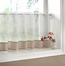 Cream Embroidered Curtains Deco Cream Embroidered Voile Cafe Curtain Each Curtain Comes 59