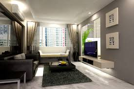 Grey Floor Living Room Living Room Gray Chairs White Flooring Lamp Television White