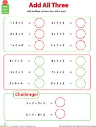 adding 3 numbers add all three adding three numbers worksheet education