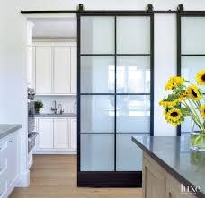 Designer Kitchen Doors And Organized Contemporary Kitchen With Translucent Sliding Doors