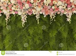 wedding backdrop grass beautiful flowers with green fern leaves wall background for wed