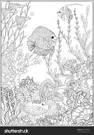 coloring book coloring page with underwater world coral